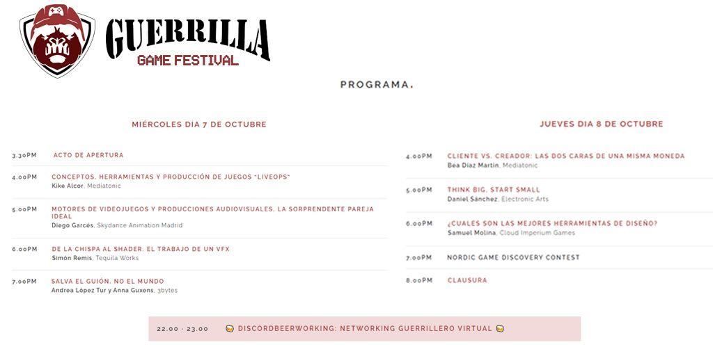 Programa del Guerrilla Game Festival tercera edición