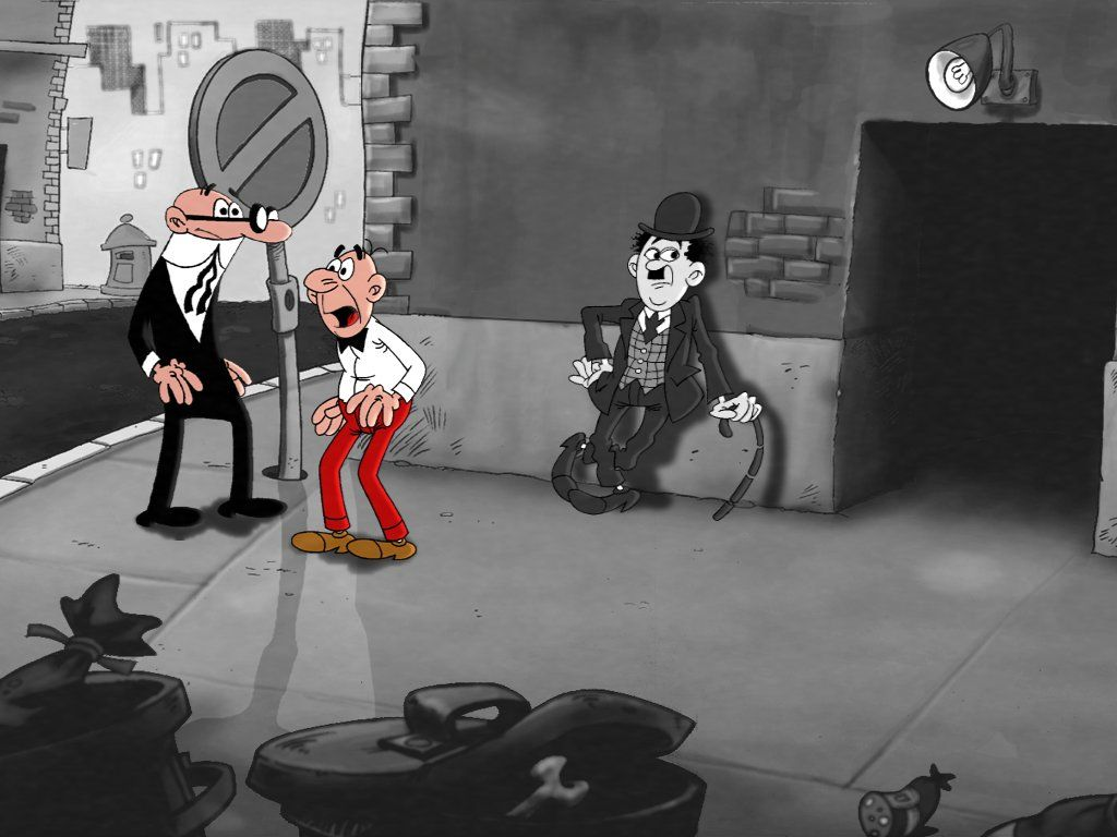 Chaplin con Mortadelo y Filemón